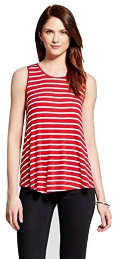 Merona Women's Striped Ribbed Swing Tank, Medium, Red/White