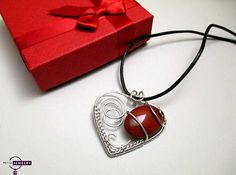 Valentine  Red Heart  Sterling Silver Pendant by PetyaJewelry