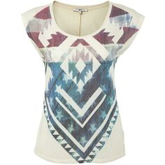 White American Aztec T-Shirt ($7.20) ❤ liked on Polyvore featuring tops, t-shirts, hauts, white t shirt, white tee, americana t shirts, cap sleeve tee and sports t shirts