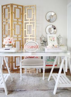Get the details to recreate this beautiful glam gold office for your own home. We show you how!