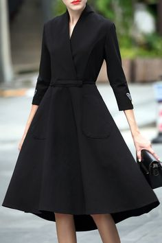 Vintage Style Crossover Collar Dovetail Black Dress #LBD #Fashion #Vintage_Style #Black_Dresses