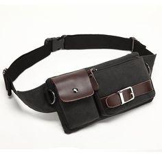 133bc9095c5e BAOSHA YB-01 Vintage Men s Waist Bag Sports Waist Pack Bum Bag Security  Money Waist Day Pack Pouch Hip Belt Bag Bumbag Black