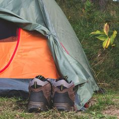 Take off shoes before you get in the tent.  But keep them under the rainfly. That way, they won't get wet if it rains at night.