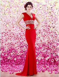 Formal Evening Dress Sheath/Column V-neck Floor-length Chiffon Dress – CAD $ 250.19