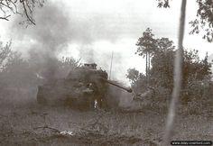 Un Panther de la 2ème SS Panzerdivision termine de se consumer au sud de Cheux le 27 juin 1944