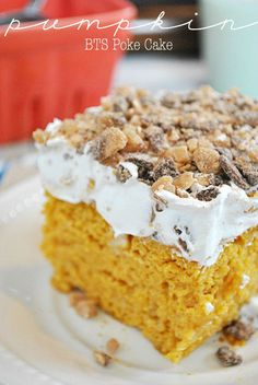 Pumpkin BTS Poke Cake Ingredients 1 box yellow cake mix 14 oz pumpkin puree (NOT PUMPKIN PIE FILLING) 1 tsp pumpkin pie spice 14 oz. can sweetened condensed milk 8 oz. Fall Desserts, Just Desserts, Delicious Desserts, Yummy Food, Poke Cake Recipes, Dessert Recipes, Cheesecake Recipes, Pie Recipes, Recipies