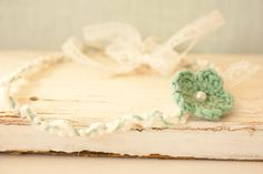 Unique Headband, Tie Back Mint Crochet Flower, Lace Tie Back Headband, Twisted Headband Soft White and Mint Yarn, Mint Green Flower Headband Twisted Headband, Mint Green Flowers, Tie Backs, Baby Headbands, Crochet Flowers, Baby Photos, Photo Props, Accent Decor, Handmade Items