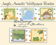 Jungle Animals Wallpaper Border Wall Decals for baby girl or boy nursery and children's room decor. Includes a giraffe, elephant, monkey, alligator, and frog #decampstudios