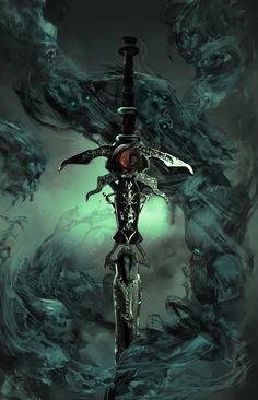 Lord of Death Cover, Sebastian Horoszko vengeful sword Dark Fantasy Art, High Fantasy, Dark Art, Fantasy Sword, Fantasy Armor, Fantasy Weapons, Medieval Fantasy, Ninja Weapons, Anime Weapons