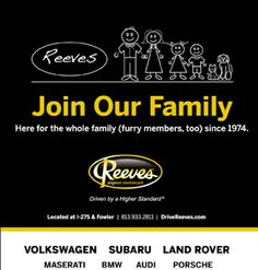 Here for the whole family (furry members, too) since 1974 #reeves #volkswagen #subaru #landrover