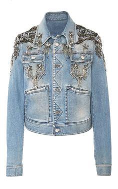 Star Embellished Denim Jacket by Roberto Cavalli Jean 1, Diy Vetement, Beaded Jacket, Slim Fit Jackets, Looks Street Style, Altered Couture, Embellished Jeans, Jeans Denim, Blue Jean Jacket