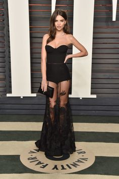 2016 Vanity Fair Oscars party: what they're wearing: Emily Ratajkowski in Steven Khalil