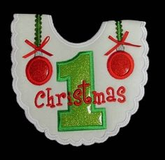 First Christmas Bib, In The Hoop - 5 Sizes! | Baby | Machine Embroidery Designs | SWAKembroidery.com Band to Bow