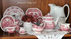 Journey of a Vintage Girl - red transferware and white ironstone.