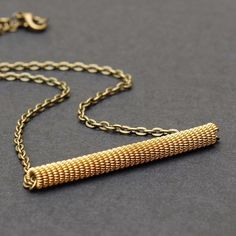 Guitar String Jewelry Modern Minimal Upcycled Brass Bar by Tanith