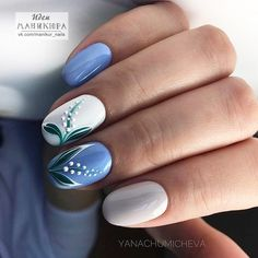 Try some of these designs and give your nails a quick makeover, gallery of unique nail art designs for any season. The best images and creative ideas for your nails. Blue Nails, My Nails, Hair And Nails, Best Nail Art Designs, Beautiful Nail Designs, Spring Nail Art, Spring Nails, Basic Nails, Simple Nails