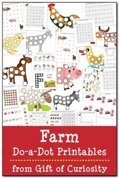 Farm Do-a-Dot Printables: 25 farm do-a-dot worksheets to help kids work on one-to-one correspondence, shapes, colors, patterning, letters, and numbers. #farm #DoADot #freeprintables || Gift of Curiosity