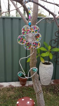 Wire and bead flower suncatcher