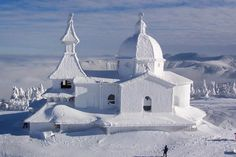Snow-Covered Chapel of Sts Cyril and Methodius, Czech Republic