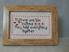 Cross stitch needlepoint mothers like buttons picture frame for mothers day birthday present Size: x cm) Perfect little present for all mothers that are always there for us to support us in everything we do ❤ Attic, Needlepoint, Mothers, Etsy Seller, My Etsy Shop, Cross Stitch, Artisan, Buttons, Invitations