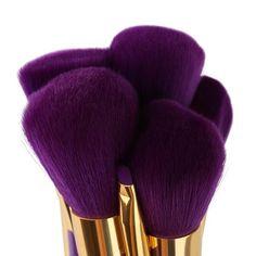 15 piece purple makeup brush set