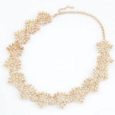 Chrysanthemum Cluster Rhinestone Necklace - Golden