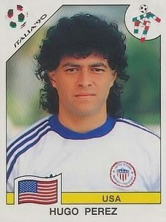 Hugo Perez of USA. 1990 World Cup Finals card. America Album, Usa Wallpaper, Football Fans, Retro Football, World Cup Final, Sport 2, Fifa World Cup, Vignettes, Competition