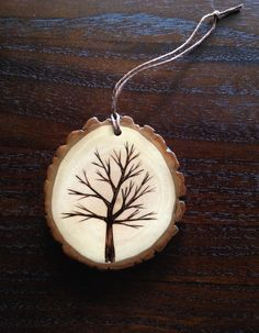 Wood Burned Tree Ornament
