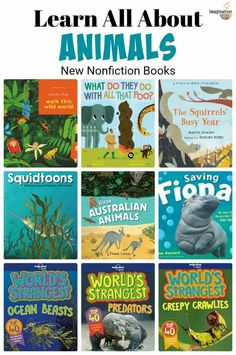 If your child enjoys reading about animal life, you'll want to know about these new books. From picture to comics to nonfiction middle-grade, there is something for every age and most interests on this list of new books for kids. Library Books, New Books, Richard Jenkins, Australian Animals, Animal Books, Kids Reading, Weird World, Nonfiction Books, Math Activities