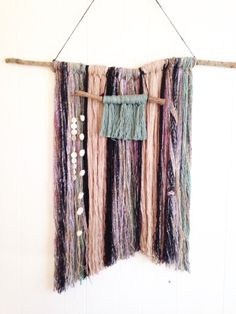 Yarn Wall Hanging with Wool Silk Silk Cocoons by WoodFiberSpirit