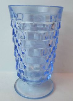 Ice Blue #Cubist Indiana Whitehall Tea Tumbler Glass #IndianaGlass