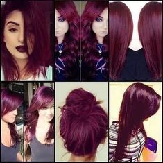 albums of Magenta Burgundy Hair Color Explore thousands of red purple hair - Red Hair Pelo Color Vino, Pelo Color Borgoña, Burgendy Hair Color, Color Red, Burgundy Colour, Burgundy Bob, Violet Red Hair Color, Purple Burgundy Hair, Black Cherry Hair Dye
