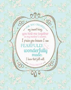 Fearfully and WONDERFULLY MADE scripture doodle by Amy J. Delightful Distractions on etsy