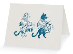 Emily Sutton 'Clockwork Cats' letterpress card published by St Jude's http://www.stjudesprints.co.uk/collections/st-judes-press