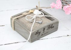 Beach Wedding Ring Bearer Box, Tie The Knot, Wedding/Engagement Ring Pillow, Personalised Wedding Ring Box, Beach Rustic Wedding Ring Holder by simplyWeddingday on Etsy