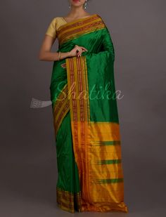 Sahana Auspicious Colors Stripe Borer Pure #NarayanpetSilkSaree
