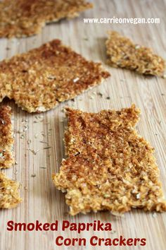 These homemade Smoked #Paprika #Corn #Crackers are so easy and delicious! from Carrie on Vegan: www.carrieonvegan.com