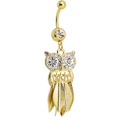 Clear Gem Gold Stainless Steel Astute Owl Dangle Belly Ring ❤ liked on Polyvore