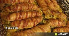 Baconszeletekbe göngyölt töltött csirkemell recept képpel. Hozzávalók és az elkészítés részletes leírása. A baconszeletekbe göngyölt töltött csirkemell elkészítési ideje: 120 perc Paleo, Keto, Diy Food, Poultry, Ham, Bacon, Sausage, Food And Drink, Pork