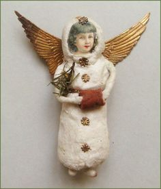 Sehr alter Christbaumschmuck, Engel aus Watte mit Muff | eBay