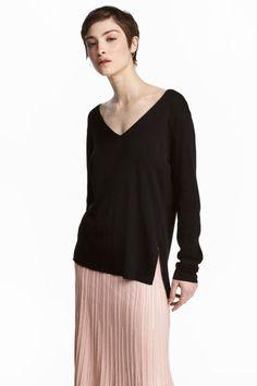 Fine-knit jumper - Black - Ladies | H&M GB 1