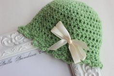 Sage Green Crochet Newborn Hat Baby Girl by BellaBambinaCouture, $13.00