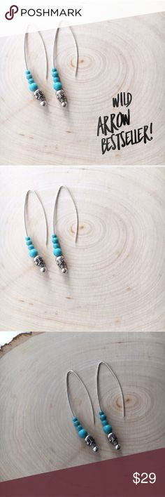 """Wild Sugar Skull Boho Western Hook Earrings Brand new and made with love in Colorado! Sugar skull silvertone heads with dyed turquoise beads graduating in size. Western, Boho, Funky chic. Cool hook style earring. Just short of 2.5"""" long. Nickel + Alloy free. wildarrow Jewelry Earrings"""