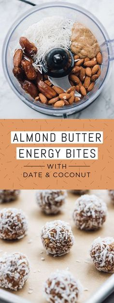 Ingredients: 2 cups medjool dates (pits removed); ½ cup roasted almonds; ½ cup almond butter; ½ cup unsweetened shredded coconut, divided; pinch of salt.To make: Combine dates, almonds, almond butter, salt, and ¼ cup of the coconut in a food processor and blend until a sticky dough forms. (If dough is not coming together, add one tablespoon of water and continue blending.) Then wet hands and form dough into 2 tablespoon-sized balls, and roll in remaining shredded coconut. Let dry at room…