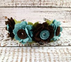 Fall Headband in Aqua & Chocolate  Wool by SwankyPickleBoutique, $30.00
