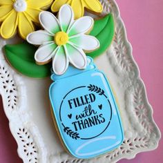 Flour Box Bakery has hand-iced decorated cookie gifts and favors, how-to cookie decorating video tutorials, and professional and affordable decorating supplies. Thanksgiving Cookies, Fall Cookies, Cute Cookies, Sugar Cookies, Baking Cookies, Holiday Cookies, Thank You Cookies, Mason Jar Cookies, Large Mason Jars