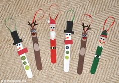 DIY Popsicle Stick Christmas Tree Ornaments - need to make the elf!