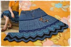 No instructions but a really great idea for using a pair of jeans to make this lovely skirt. High Waisted Skirt, Denim, Crochet, Skirts, Craft, Youtube, Fashion, Jean Skirts, Needlepoint
