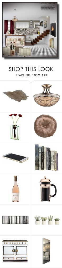 """Contemporary Kitchen"" by nusongbird ❤ liked on Polyvore featuring interior, interiors, interior design, home, home decor, interior decorating, Possini Euro Design, Beacon, Badash and WALL"
