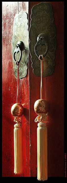 Chinese Doors ~ by The Italian Eye...  Shop for a Tassel for my Antique Chinese Buffet...